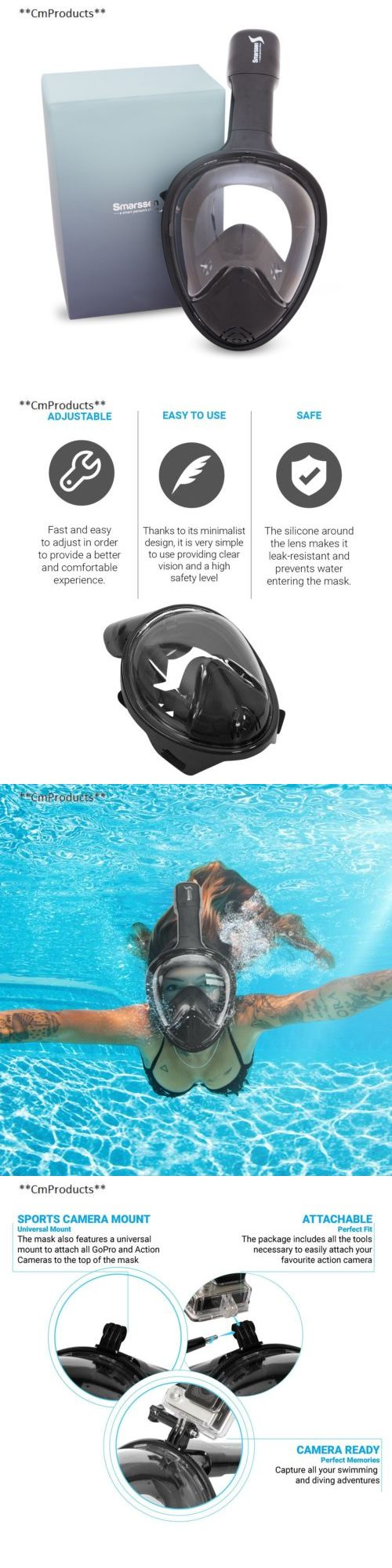 Masks 71161: Upgraded Snorkel Mask Set Full Face Easybreath Anti Leak Diving Gear With... -> BUY IT NOW ONLY: $56.65 on eBay! http://www.deepbluediving.org/best-scuba-diving-mask-reviews/
