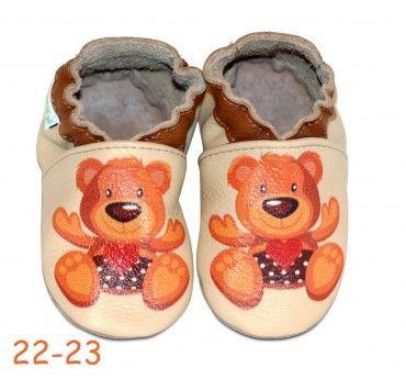 Chaussons bébé en cuir souple ourson teddy