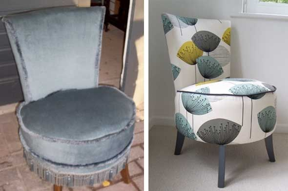 Fabulous chair makeover...is that not the best fabric in the whole wide world?!?!!!  WOW!!!  -  shelterpop.com