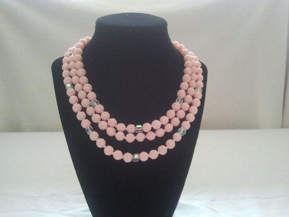Vintage 3 stand popcorn pink necklace by Theforgottenfrog on Etsy, $12.50
