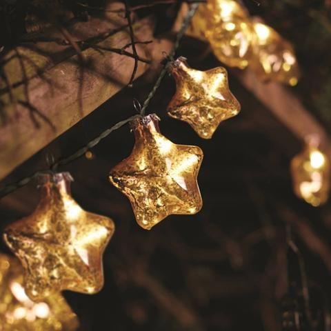 Stellar zlaté hviezdy - reťazové svetlá - 10 ks