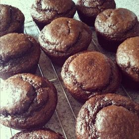 Dark Chocolate Peanut Butter Protein Muffins - Fit and Healthy with Debbie