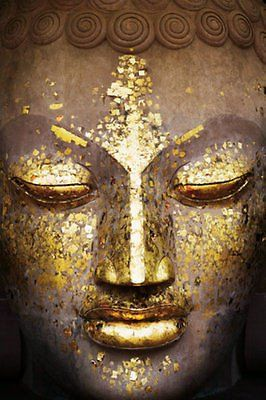 Gold Buddha Face Poster Print Wall Art Large Maxi