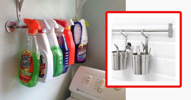 Mit dem GRUNDTAL-Handtuchhalter von Ikea hast du endlich deine ganzen Putzmittel griffbereit.