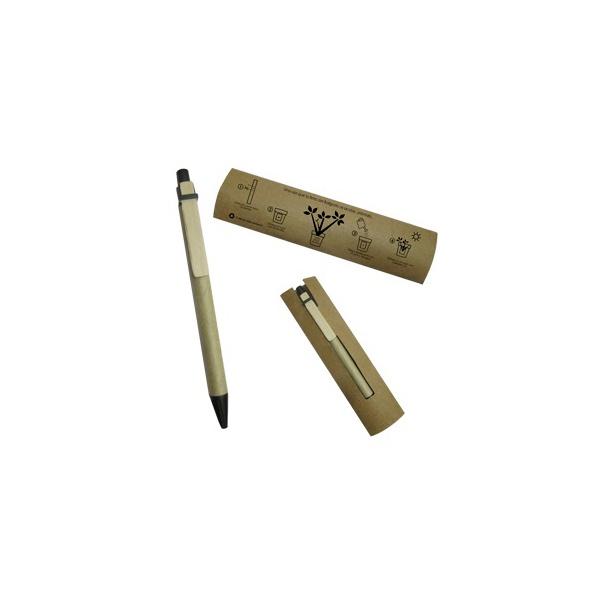 COD.EC030 Bolígrafo ecológico de cartón reciclado, contiene semilla de pensamiento en su interior la cual se puede plantar al acabar la tinta.