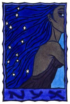 Nyx, goddess of the night. Daughter of Chaos, brother of Erebus (darkness). Their children: the Moerae (3 fates), Nemesis (justice, divine retribution), Hypnos (sleep), Thanatos (death), Moros (doom), the Keres (goddesses of violent death), Oizys (misery), the Hesperides, and Eris (strife).