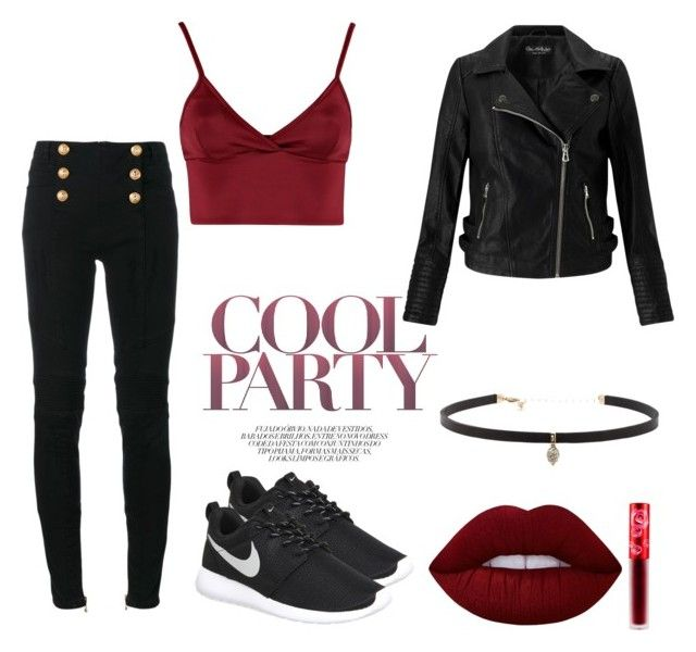"""""""Untitled #19"""" by terka-zelenkova on Polyvore featuring Balmain, Lipsy, Miss Selfridge, NIKE, Lime Crime and Carbon & Hyde"""