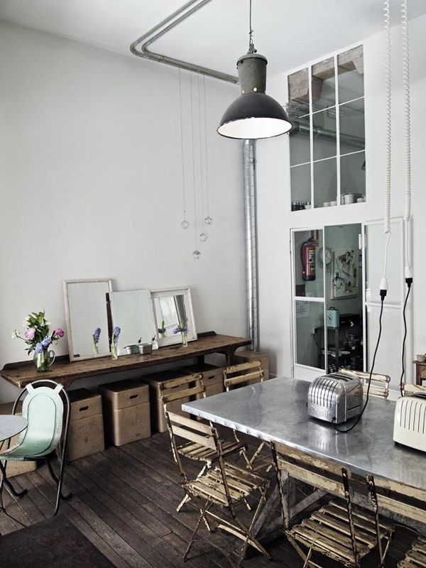 Old zinc top table. Would love a zinc topped table or counter in the laundry/dog food prep area that is still just a dream!