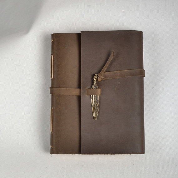 Leather journal handmade leather notebook vintage by CLWorkshop, $60.00