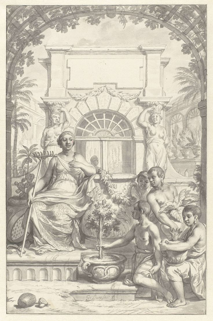 Gerard de Lairesse | Ontwerp voor titelblad van een boek over tropisch planten, Gerard de Lairesse, 1673 - 1678 |
