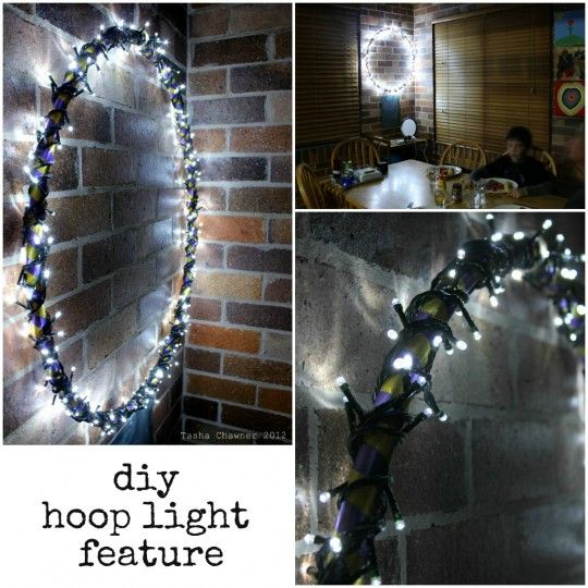 Think i'll do this over the bed...xmas lights and a hula hoop - wrap the hoop with ribbon or paint first.