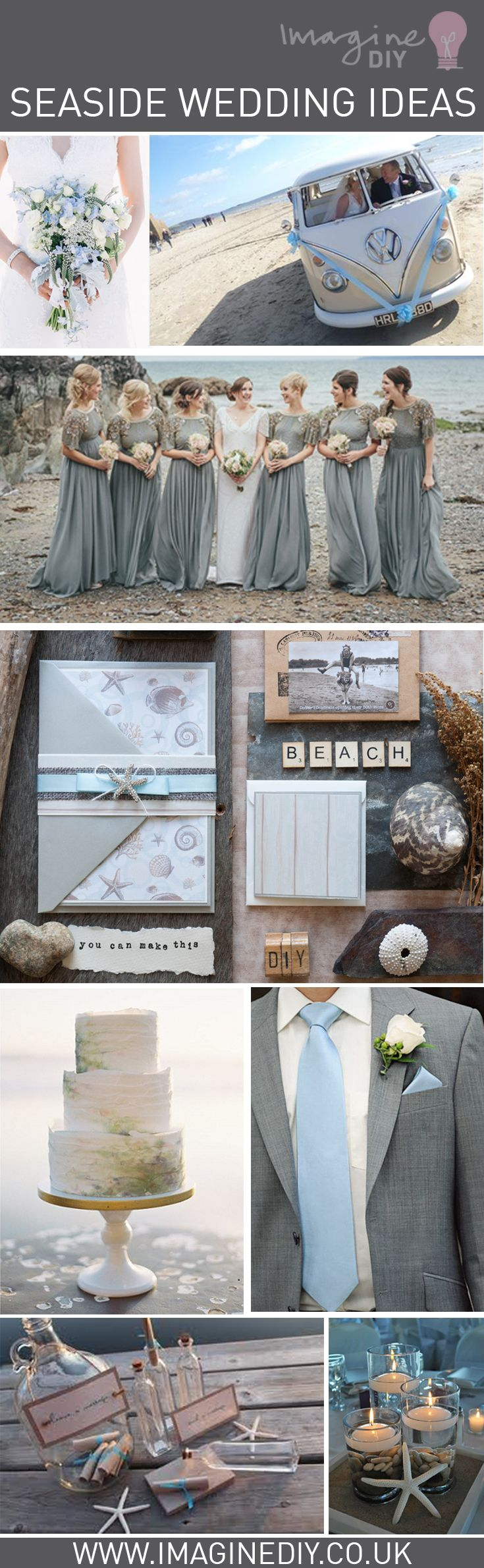 Seaside wedding ideas diy beach blue grey theme