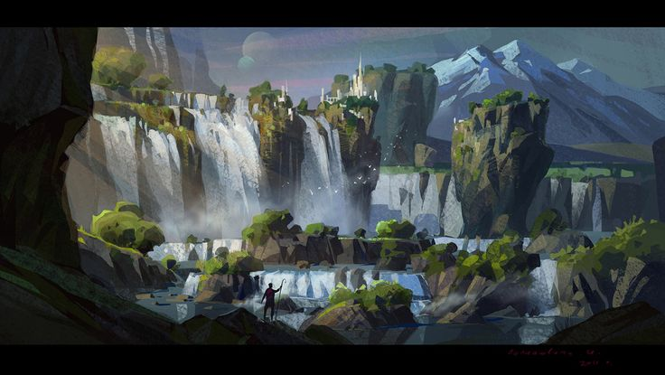 496 best images about concept art and digital painting on for Waterfall environment