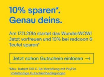 Ebay: 10 Prozent Rabatt auf Artikel von Redcoon und Teufel https://www.discountfan.de/artikel/technik_und_haushalt/ebay-10-prozent-rabatt-auf-artikel-von-redcoon-und-teufel.php Ab sofort und nur bis zum 9. November 2016 gibt es bei Ebay einen Rabatt von zehn Prozent auf Teufel-Artikel sowie Waren von Redcoon. Der Gutschein funktioniert nur bei Zahlung per Paypal, pro Kunde kann der Rabatt bis zu fünfmal benutzt werden. Ebay: 10 Prozent Rabatt auf Artikel von Redcoon ... #