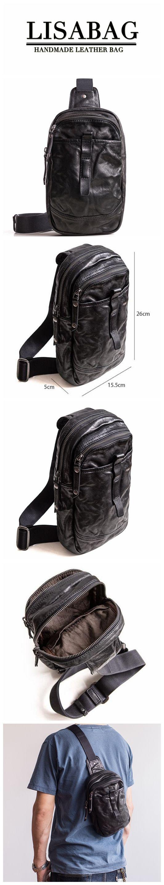 Outdoor Men's Leather Shoulder Bag Sling Chest Bag Crossbody Hiking bag Cool Small Backpack MBL21