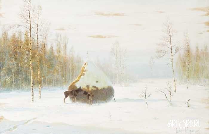 Зимний пейзаж с лосями. Граф Владимир Муравьев