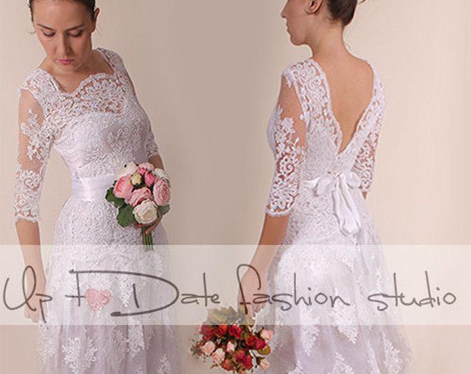 Plus Size /Vneck bаck kant/lang bruiloft partij/receptie jurk / bruids jurk 3/4 mouw
