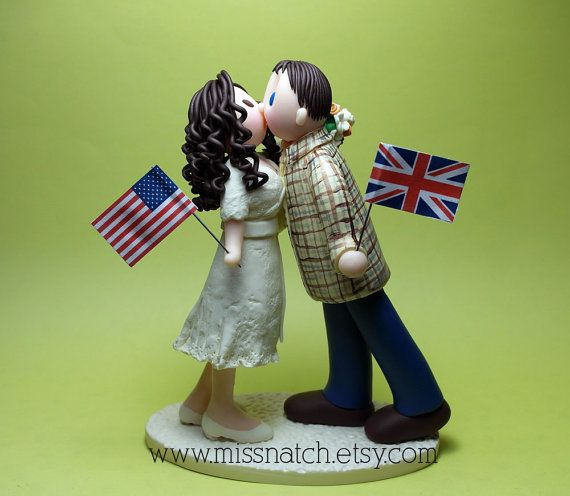 British American Creme Yellow Casual Multicultural Custom Wedding Cake Topper by missnatch.etsy.com