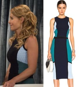 Fuller House episode 1 clothes: DJ's (Candace Cameron Bure) navy and teal/turquoise color block crop top and pencil skirt #fullerhouse