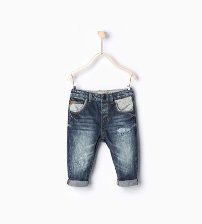 Image 1 of Combined herringbone jeans from Zara