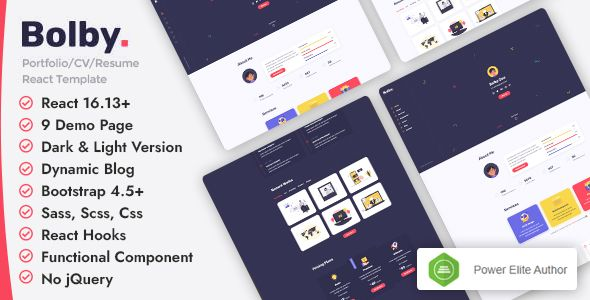 Bolby React Personal Portfolio Resume Template Stylelib Portfolio Resume Personal Portfolio Cv Resume Template