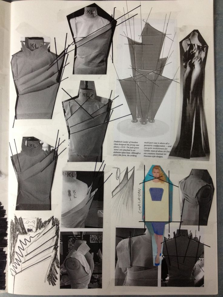 Fashion Sketchbook - fashion design process, bodice development with draping experiments; fashion student portfolio