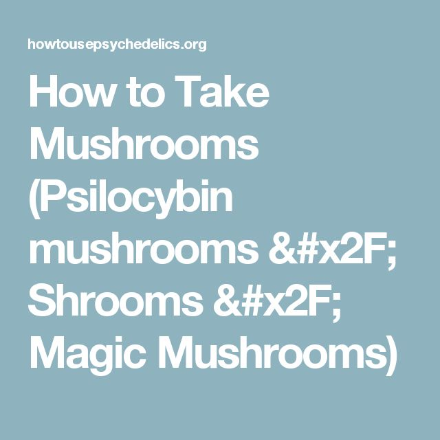 How to Take Mushrooms (Psilocybin mushrooms / Shrooms / Magic Mushrooms)