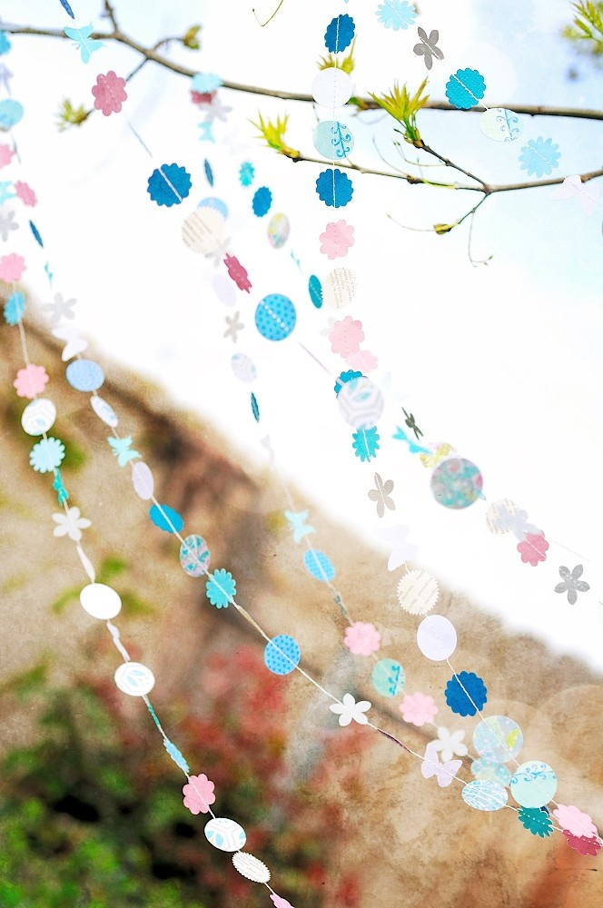 Butterfly Gardens 15' Wedding Paper Garland, wedding decoration, bridal shower, party, baby shower, nursery, birthday. $20.00, via Etsy.