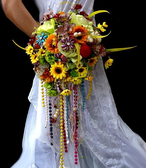 Silk flowers wedding bouguet  Hippies style  and by wandadesign, €180.00