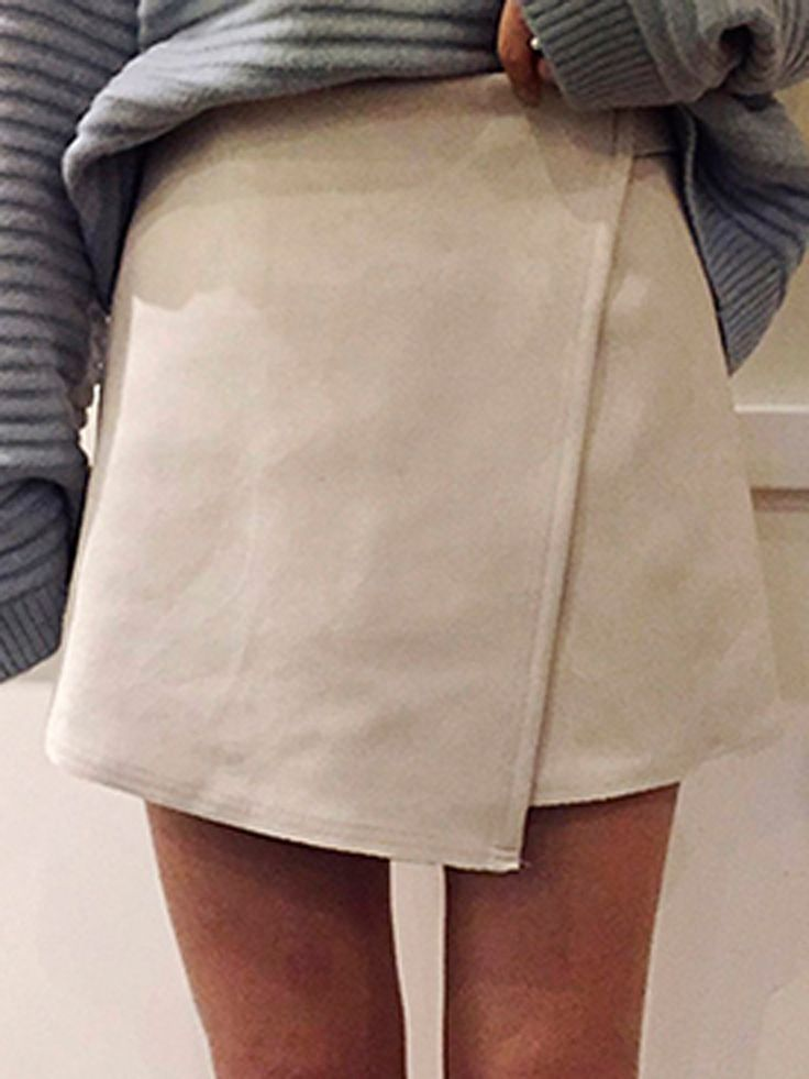 White High Waist Wrap Suedette Pencil Skirt