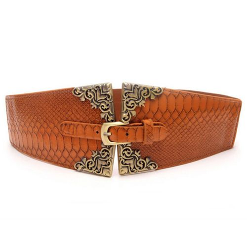 New-Lady-Belt-Fashion-Wide-Stretch-Waistband-Pin-Buckle-Faux-Leather-Waist-Strap