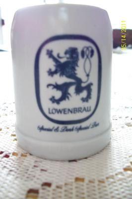 Hey, I found this really awesome Etsy listing at https://www.etsy.com/listing/117605332/lowenbrau-beer-mug-miniature-white-blue