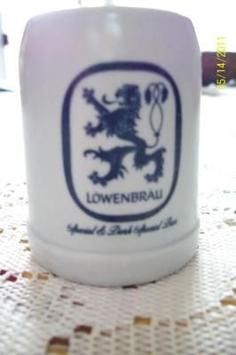 Hey, I found this really awesome Etsy listing at https://www.etsy.com/listing/117605332/lowenbrau-beer-mug-miniature-white-blue