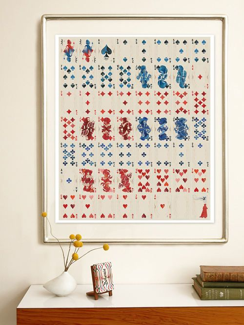 I really like the idea of artistically interesting playing cards as framed wall art.  boho3