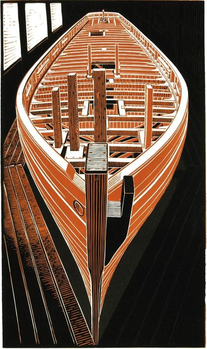 James Dodds ~ Pioneer Deck Beams, 2003 (linocut)