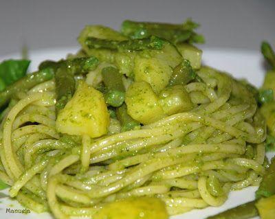Spaghetti con patate,fagiolini e pesto.Via delle Spezie | Via delle Spezie