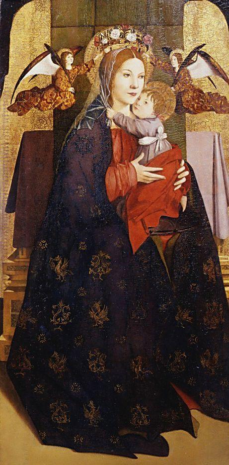 Antonello da Messina (Antonio di Giovanni de Antonio), Messina um 1430  - 1479 Madonna col Bambino e angeli reggicorona / Madonna mit dem Kind und Engeln / Virgin with Child and Angels (ca. 1470 -75)