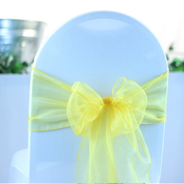 Yellow Crystal Organza Sash (27cm x 300cm) - 10 Pieces from My Wedding Store