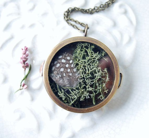 Terrarium Feather Moss Vintage Locket by NaturalPrettyThings