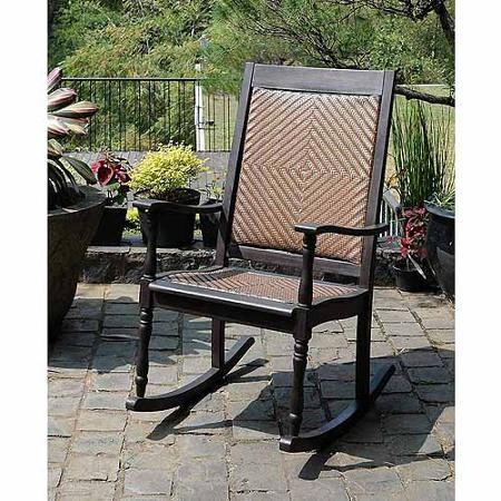 Wood Wicker Rocking Chair, Dark Brown