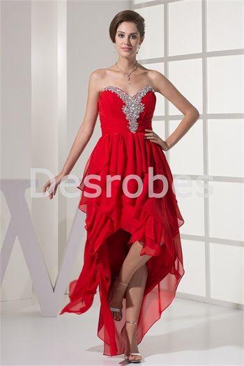 Robe de cocktail et de volants rouge sexy en mousseline de soirée ornée de cristaux artificiels