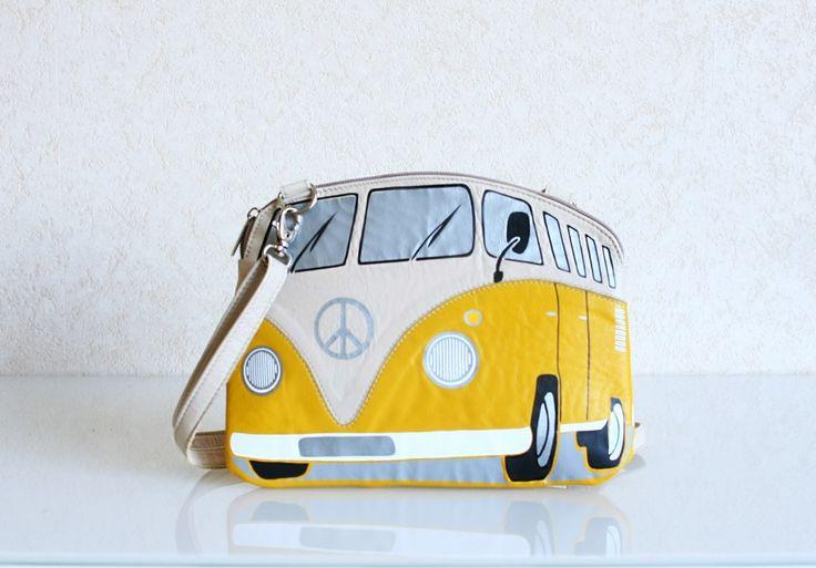 Автобус Фольксваген Хиппи из кожи | krukrustudio - оригинальные сумки-подарки, молодежные сумки-объекты.