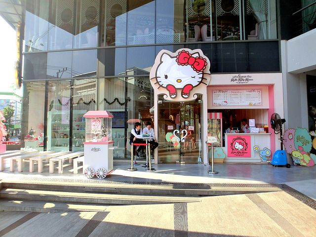 """Pewna kawiarnia w Londynie, """"The Hello Kitty Afternoon Tea"""", postanowiła zainspirować się tą postacią. Dzięki temu powstała niesamowita kawiarnia, w której jedzenie powiązane jest właśnie z Hello Kitty. W menu znajdziemy: różową lemoniadę, gofry i naleśniki w kształcie Hello Kitty, kawa z pianką z wizerunkiem popularnej postaci, ciastka i wiele innych przekąsek."""