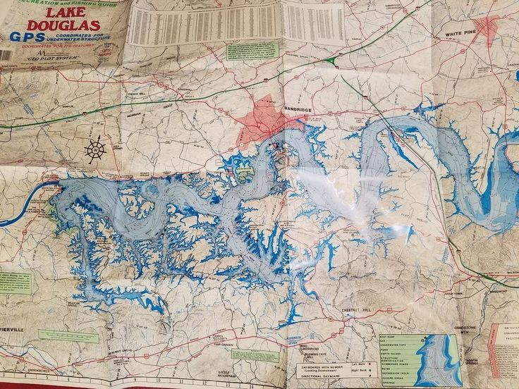 douglas lake fishing map Lake Douglas Recreation Fishing Guide Tennessee Gps Coordinates douglas lake fishing map