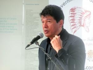 """Hockey legend, Ted Nola, encourages First Nations youth to work hard, be persistent, in his speech at the """"Future of First Nations Education"""" forum in Regina. Full article at: http://buff.ly/13hrcxC"""