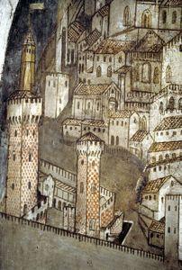 Dettaglio del castello nella veduta di Padova ai tempi di S. Antonio affrescata da Giusto de' Menabuoi nella cappella del beato Luca Belludi al Santo