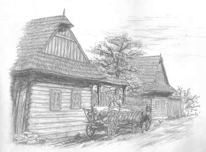 Traditional Slovak drawing cottage and carriage by Folkana.deviantart.com on @deviantART
