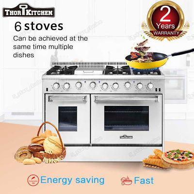 48in Thor Kitchen Gas Range HRG4808U Double Oven Stainless Steel Griddle 6Burner