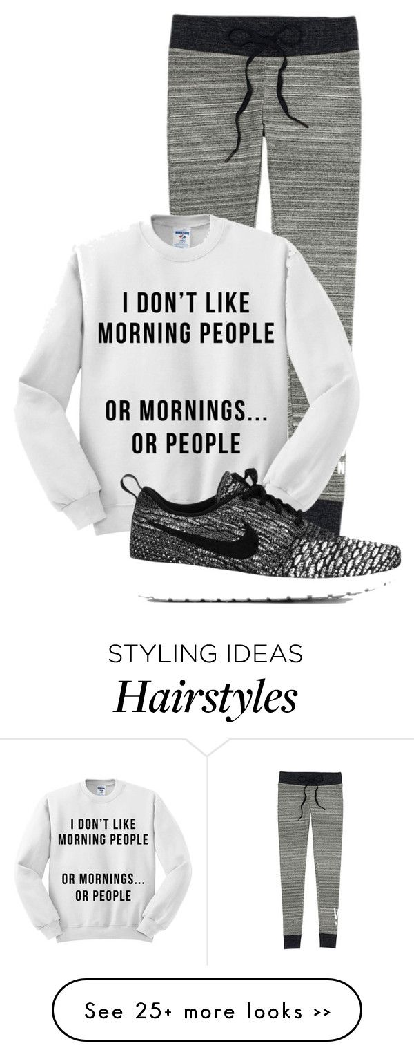 """""""Messy hair and i dont care"""" by cupcakegirl011 on Polyvore featuring Victoria's Secret and NIKE"""
