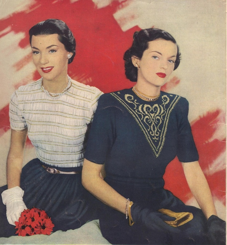 Dress fashion flowered the year 1948
